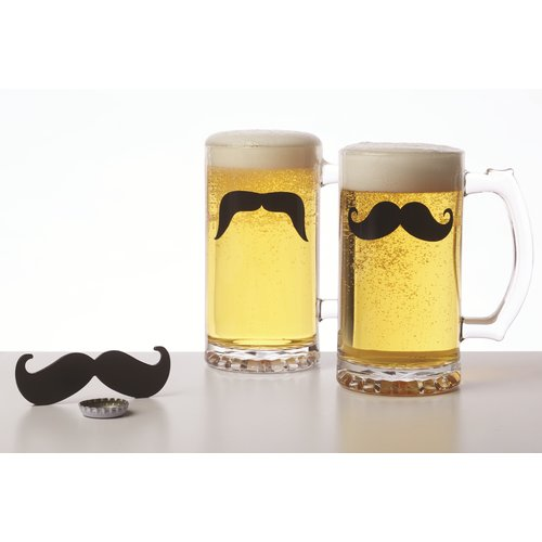 Brilliant Moustache 17 oz. 3 Piece Beer Glass Set by