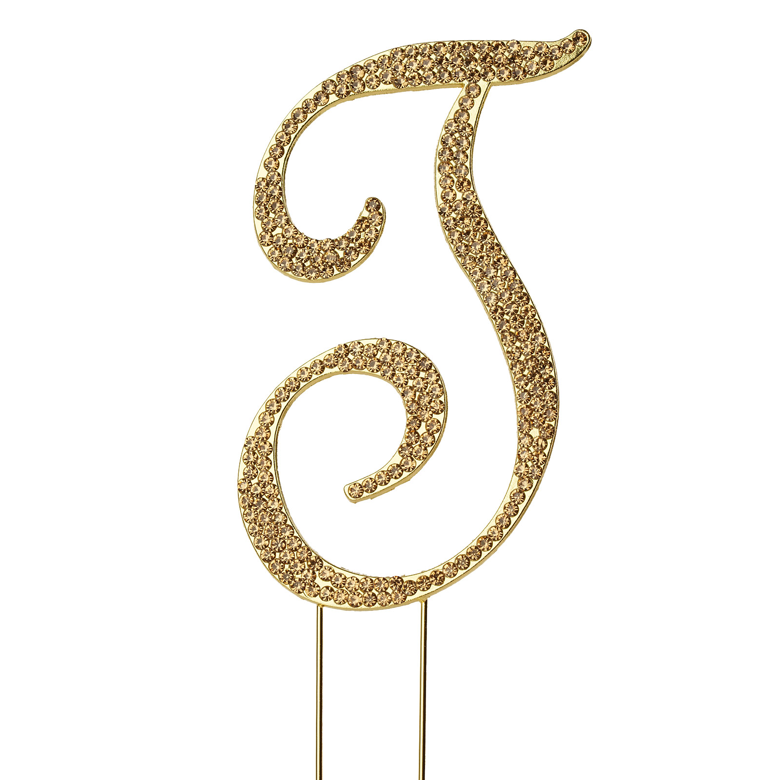 "BalsaCircle Gold Cake Topper - 4.5"" tall Rhinestone Personalized Wedding Party Monogram Dessert Decorations"