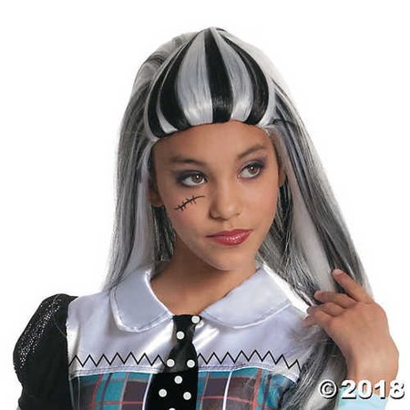 UHC Child Monster High Frankie Stein Wig Halloween Costume Accessory (Halloween Frankie Human Steins)