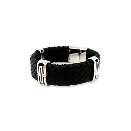 - Men's Leather and Stainless Steel Woven Bracelet, 8-1/4
