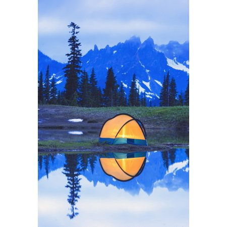 Camping tent at sunset small reflecting pond near tipsoo lake mount rainer  national park near seattleWashington united states of america Stretched