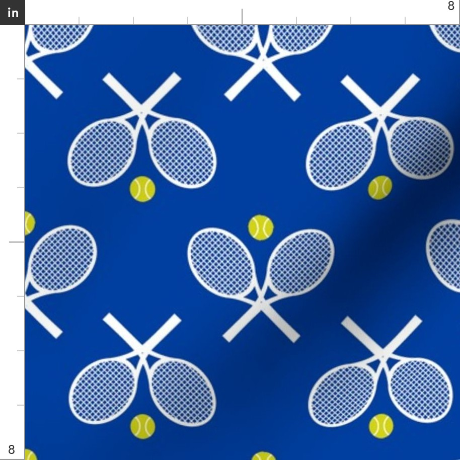 Tennis Racket Blue White Green Sport Racquet Fabric Printed by Spoonflower BTY