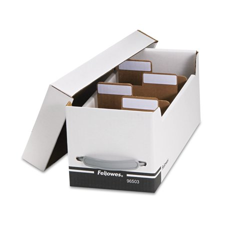 3.5 Inch Diskette File - Fellowes Corrugated Media File, Holds 125 Diskettes/35 Standard Cases, White/Black -FEL96503