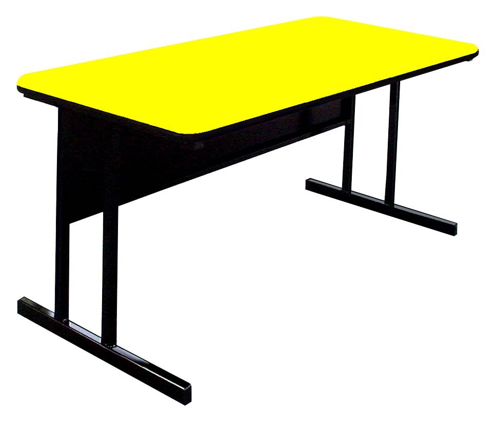 Computer Table In Yellow Desk Height Work Station 24 X 36 Com