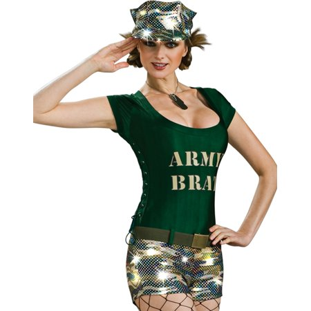 Pinup Army Brat Sexy Military Babe Romper Womens Halloween Party Costume