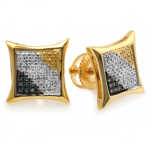 0.20 Carat (ctw) Blue, White & Yellow Round Diamond Micro Pave Setting Kite Shape Stud Earrings 1/4 CT