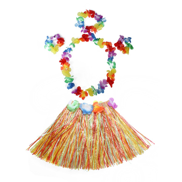 Ladies Women Hawaii Fancy Dress Grass Skirt Hula Hawaiian Full Charming  fd