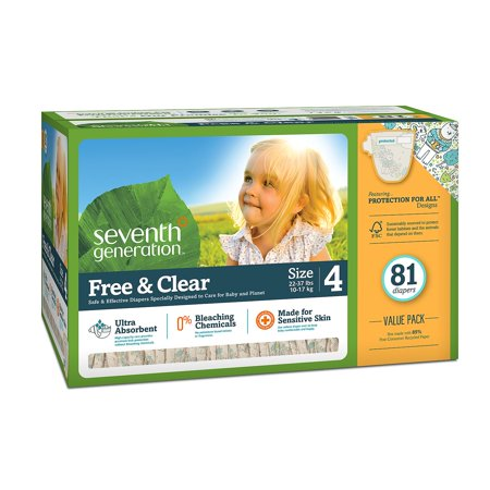 Seventh Generation Free & Clear Baby Diapers Size Size 4 - 81 ct. - Bulk Qty, Free Shipping - Comfortable, Soft, No leaking & Good nite Diapers ()