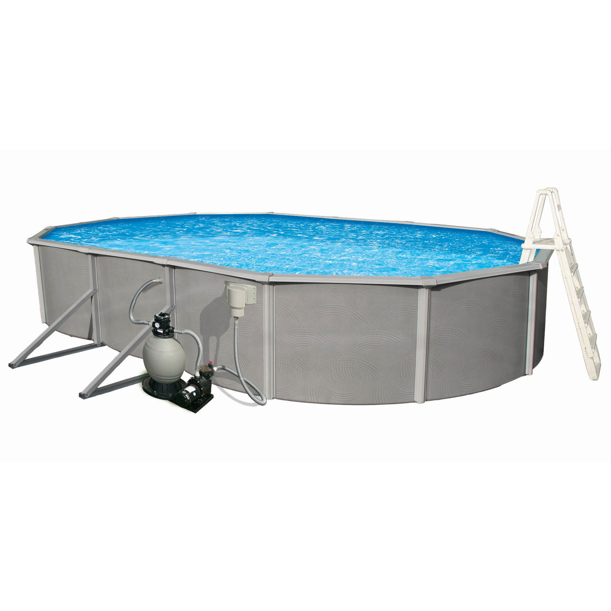 Click here to buy Blue Wave Belize Oval 48-inch Deep, 6-inch Top Rail Metal Wall Swimming Pool Package by Overstock.