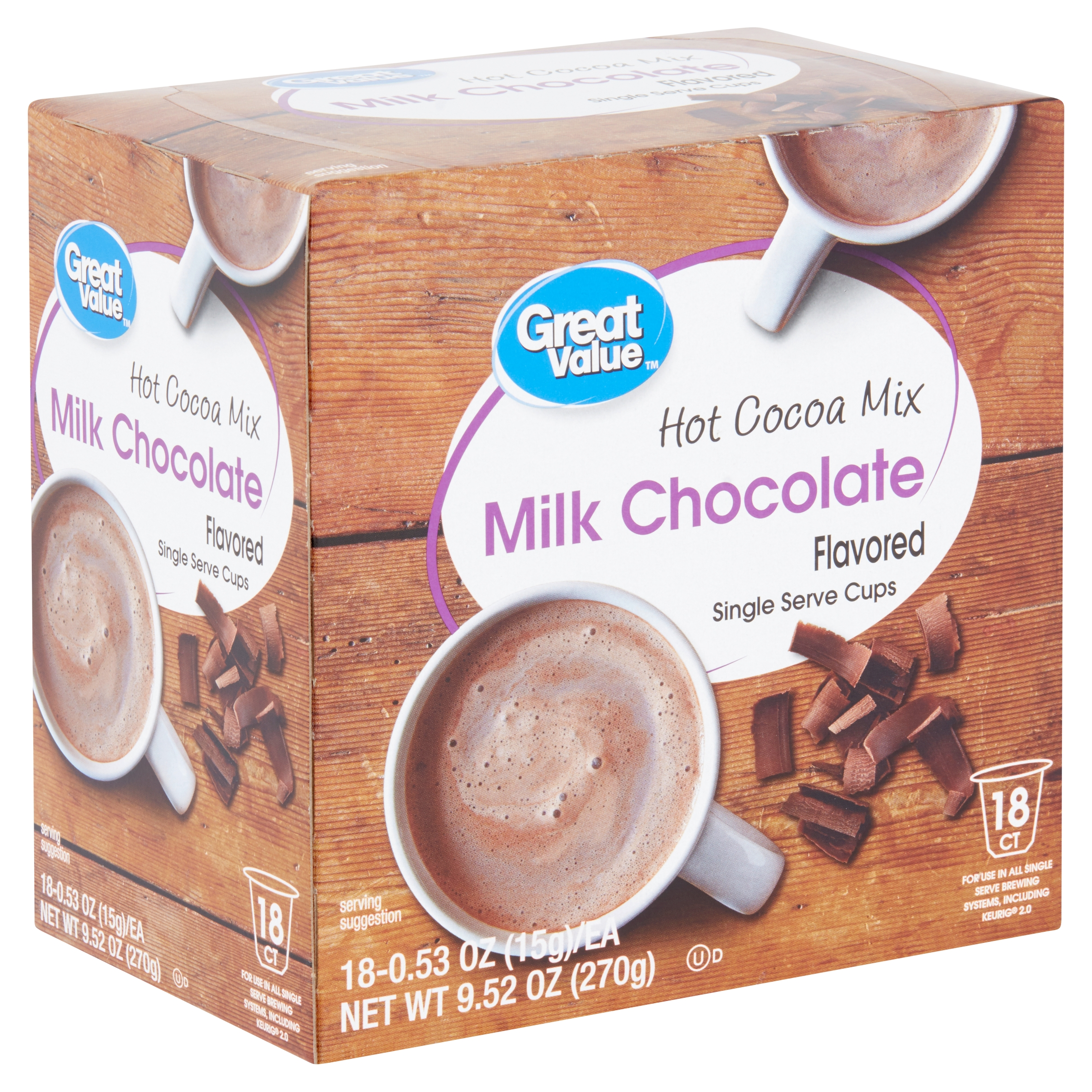 (4 Pack) Great Value Milk Chocolate Hot Cocoa Mix Single Serve Cups, 18 Count