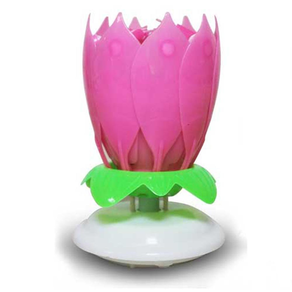 Gzyf 1pc amazing birthday flame flower lotus music candles rotatable gzyf 1pc amazing birthday flame flower lotus music candles rotatable double layers candle spin candle with 14 small candles singing happy birthday pink izmirmasajfo