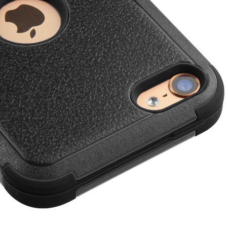 Kaleidio Case For Apple iPod Touch 6 (6th Generation) / iPod Touch 5 (5th Generation) [Natural TUFF] Impact Hybrid [Shockproof] Dual Layer Cover w/ Overbrawn Prying Tool [Black/Black]