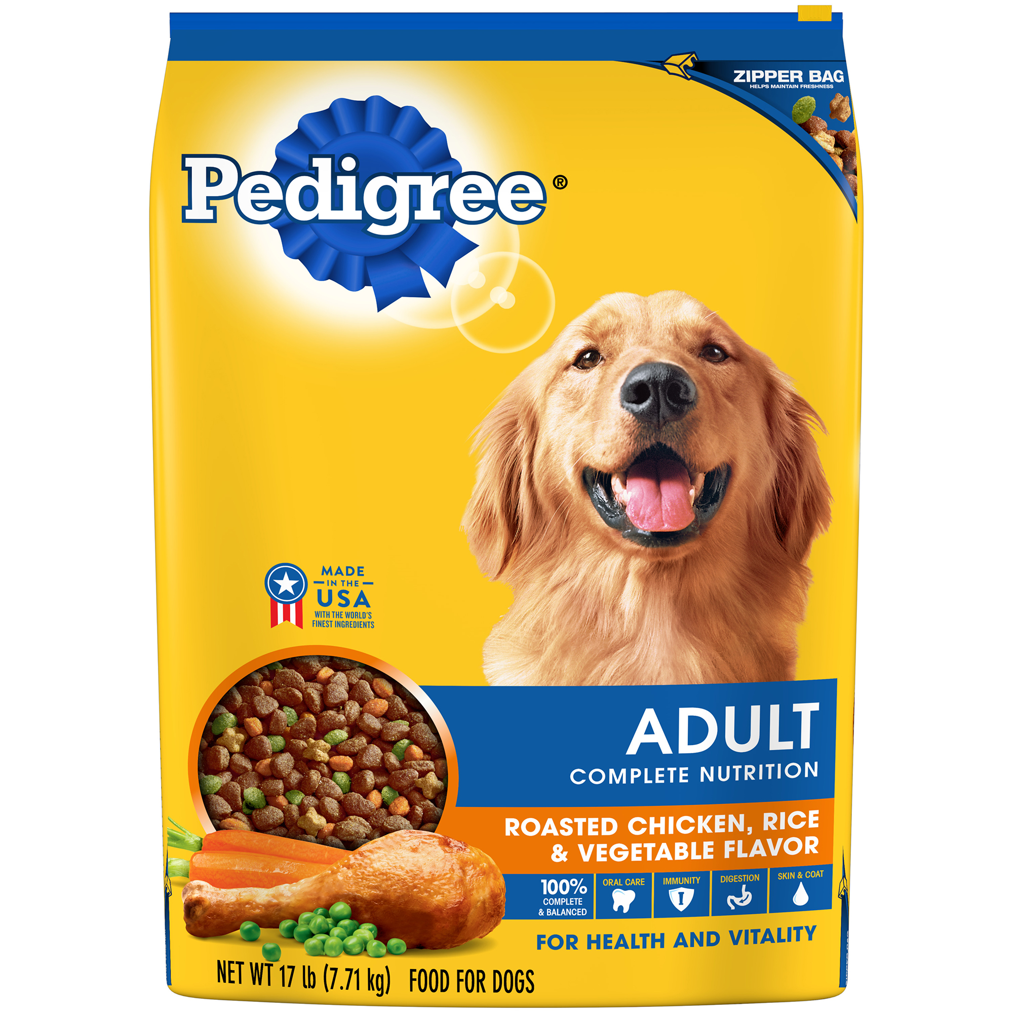 PEDIGREE Adult Complete Nutrition Roasted Chicken, Rice & Vegetable Flavor Dry Dog Food 17 Pounds