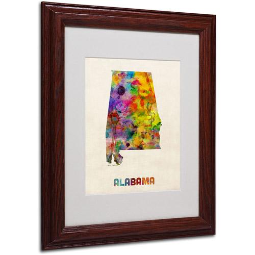 "Trademark Fine Art ""Alabama Map"" Matted Framed Art by Michael Tompsett, Wood Frame"