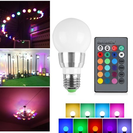 E27 3W LED RGB Light Ball Bulb Colorful Lamp With Wireless Remote Control