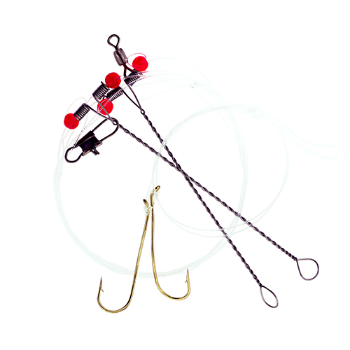 "Hurricane 24/"" Monofilament 3-22N Double Drop Rig with Beads Nylon Coated"