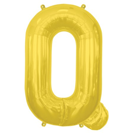 "Northstar Alphabet Letter Q Shape Solid Air-Fill 16"" Foil Balloon, Gold"