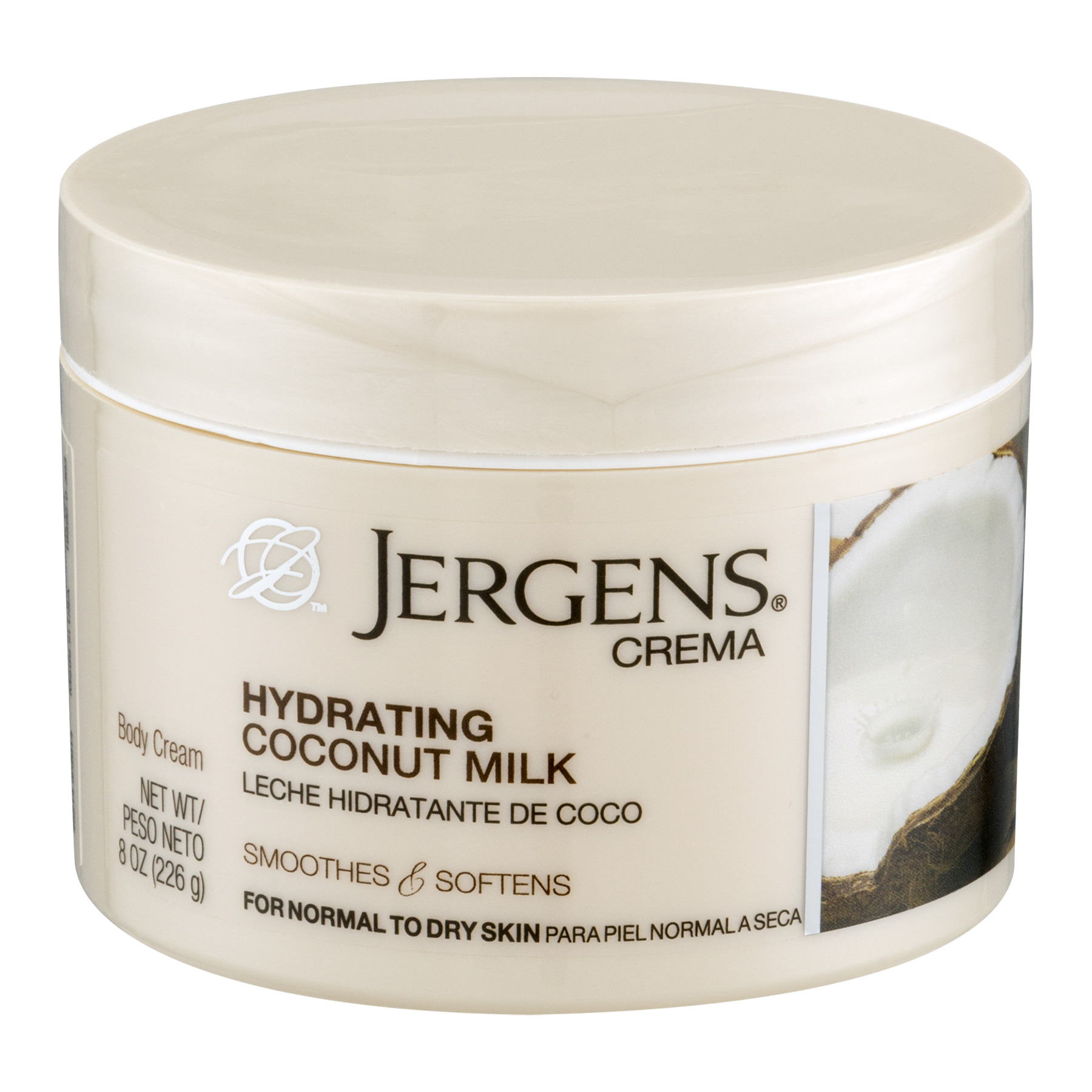 Jergens Crema Body Cream Hydrating Coconut Milk, 8.0 OZ
