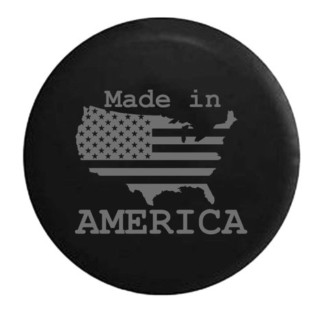 US United States Flag Made In America Trailer RV Spare Tire Cover Vinyl Stealth Black 27.5 in