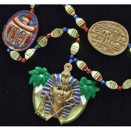 King Tut Mummy Egypt Egyptian Pyramid Halloween Mardi Gras Bead Necklace Spring Break Cajun Carnival Festival New Orleans Beads, Colorful Authentic Premium.., By Mardi Gras World Ship from US for $<!---->