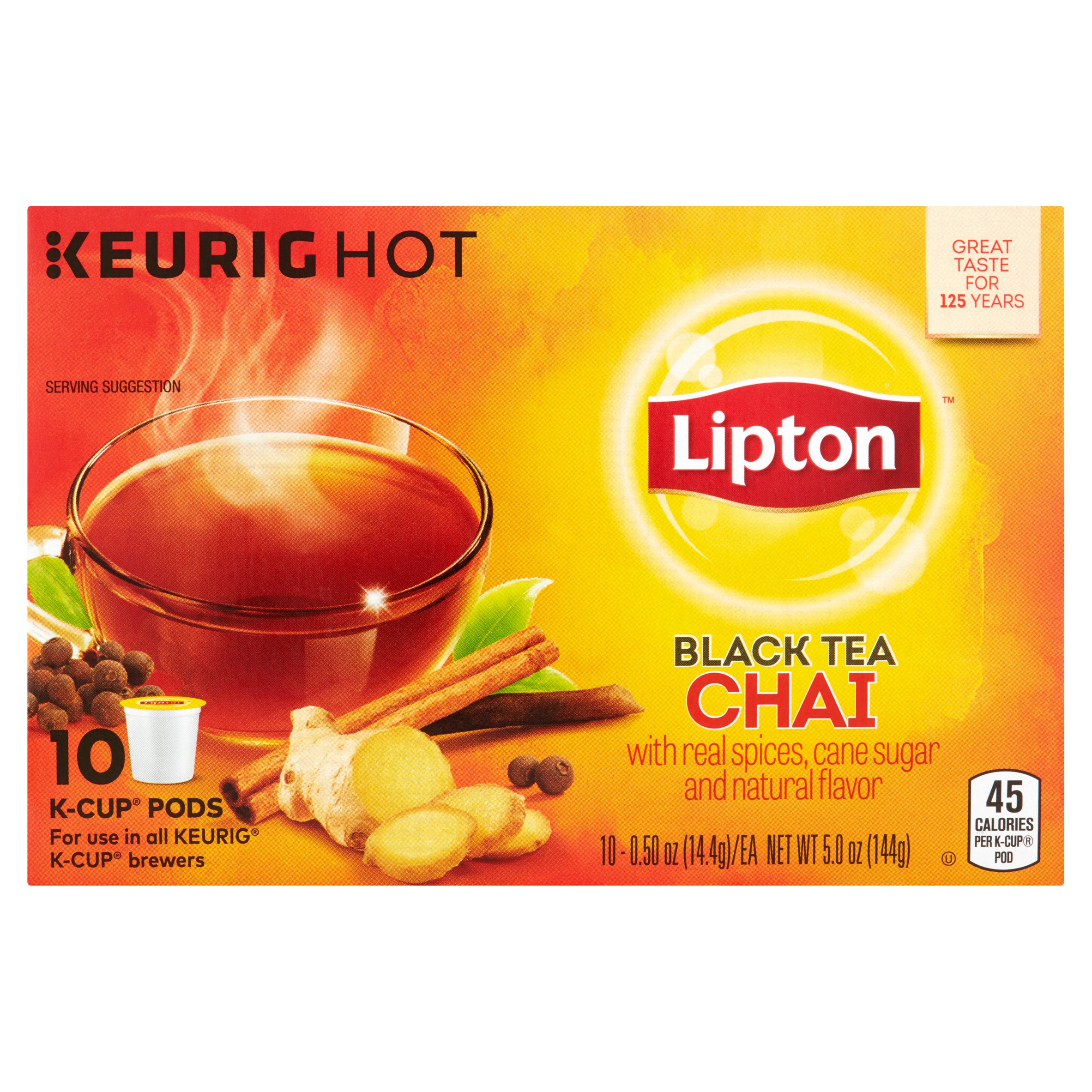 Lipton Keurig Hot Black Tea Chai K-Cup Pods, 0.50 oz, 10 count