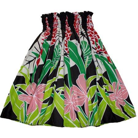 Hawaiian Pa'u Hula Skirt Colorful Black Hawaii Flower