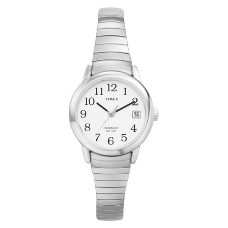 Women's Easy Reader Watch, Silver-Tone Stainless Steel Expansion Band (Rose Gold Timex Watch)