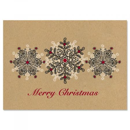 Kraft Stamped Snowflakes Christmas Cards - Set of 18 ()