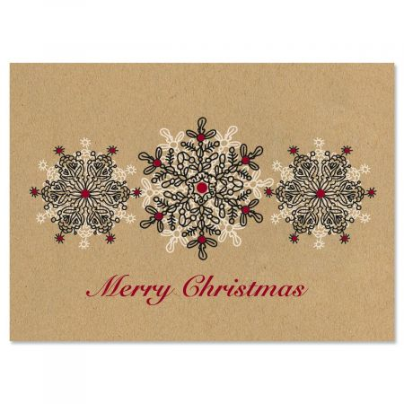 Kraft Stamped Snowflakes Christmas Cards - Set of 18