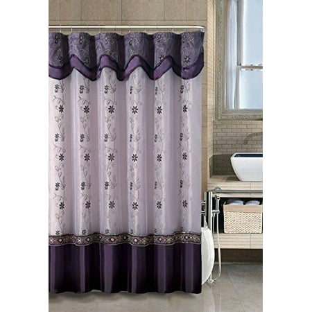 VCNY Home Daphne Embroidered Sheer & Taffeta Fabric Shower Curtains ...