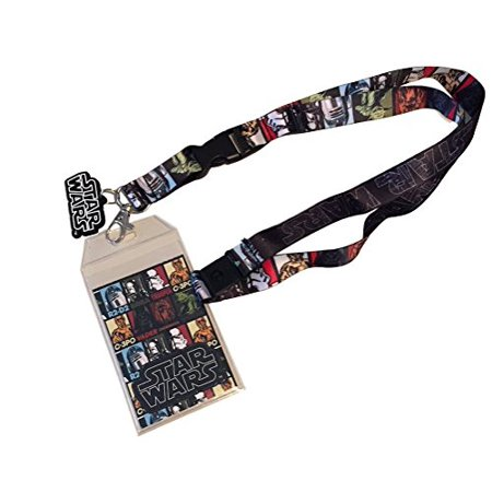 Star Wars Multi-Character Double Sided Lanyard Keychain ID Holder With Charm and Collectible Sticker - image 1 de 1