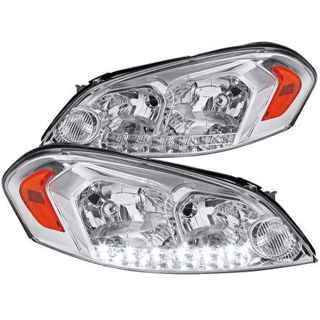 Spec-D Tuning For 2006-2013 Chevy Chevrolet Impala Monte Carlo Chrome Clear Led Headlights W/ Amber Reflector Pair (Left+Right) 2006 2007 2008 2009 2010 2011 2012 2013 (1985 Chevy Monte Carlo Parts)