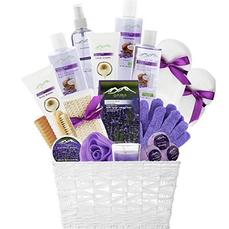 Lavender Spa (20-Piece Luxury Bath & Body Spa Gift Set, Best Gift for Women! Lavender & Coconut Oils Spa Gift Basket for Women!)