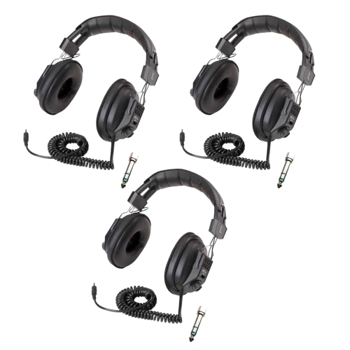 Califone 3068AV Switchable Stereo/Mono Headphone (Black, 3-Pack)