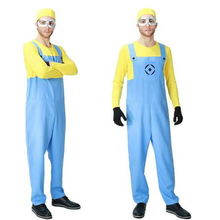 Men's Minion Long Sleeve Bodysuit Costume 4 Piece Outfit Set (M)](Minion Outfits)