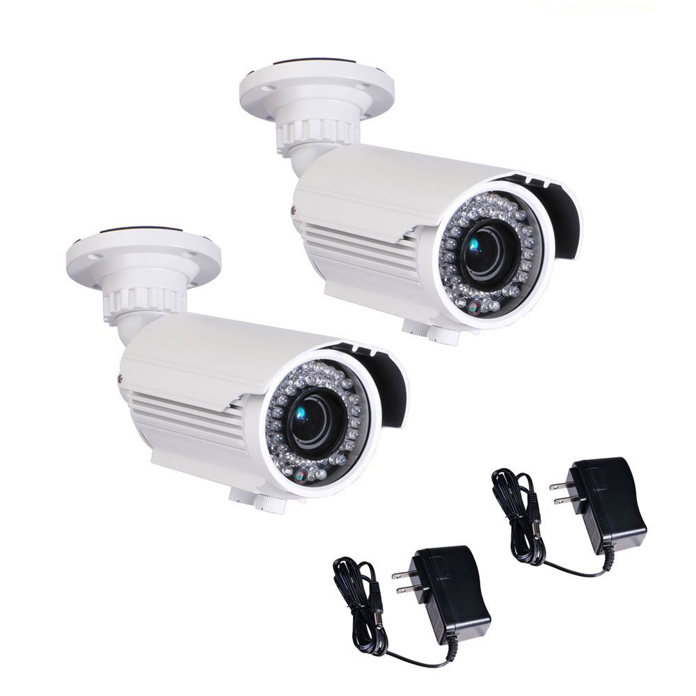 WAIRE96WK2 VideoSecu 2 IR Day Night Vision Security Camera Built - in 1 / 3 Sony CCD Effio 700TVL Varifocal 42 LEDs with 2 Power BTX