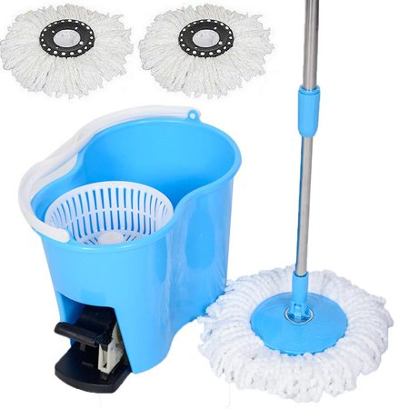 Felji Microfiber Spin Mop Easy Floor Mop with Bucket and 2 Mop Heads - 360 Rotating Head,