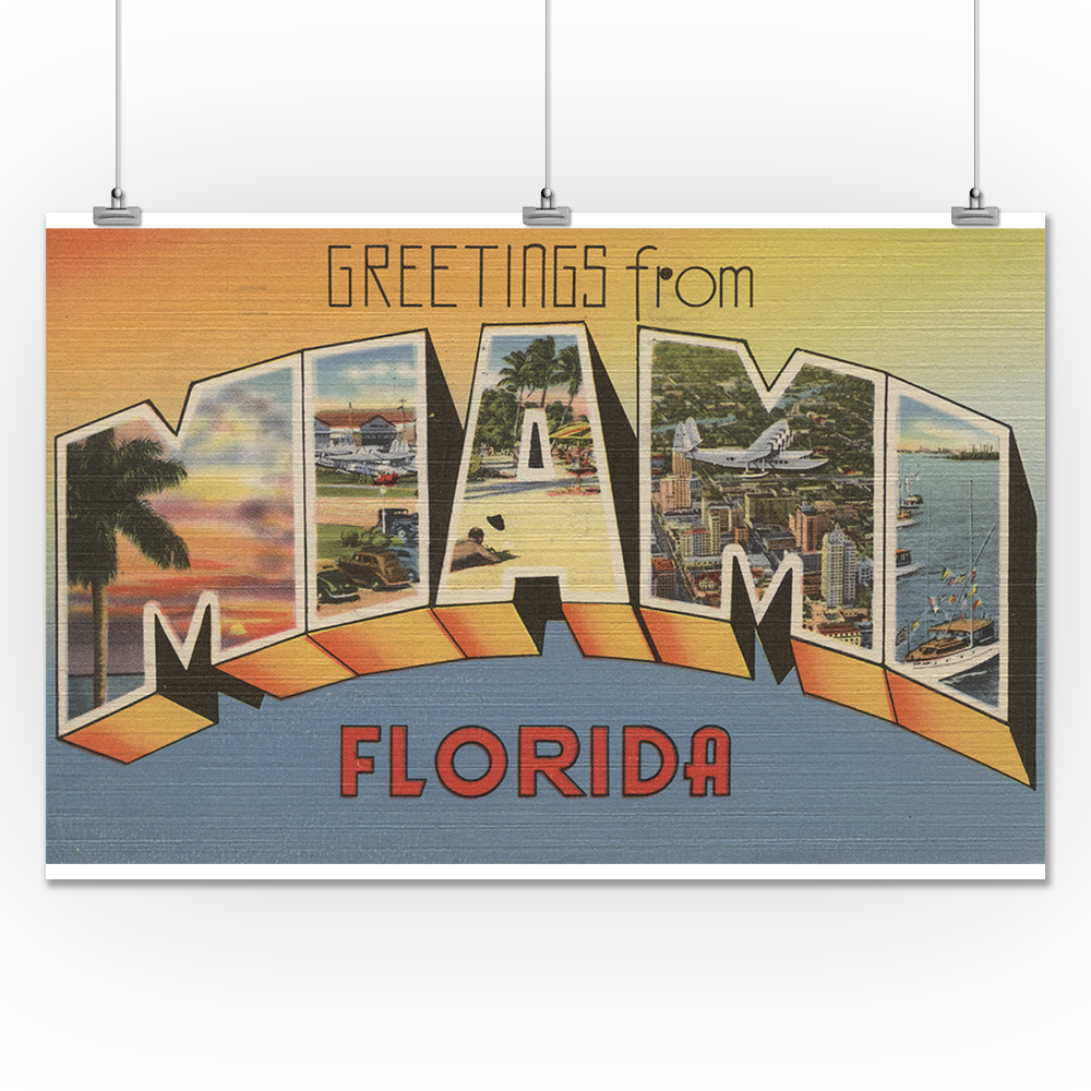 Greetings from miami florida 24x36 giclee gallery print wall greetings from miami florida 24x36 giclee gallery print wall decor travel poster walmart kristyandbryce Image collections