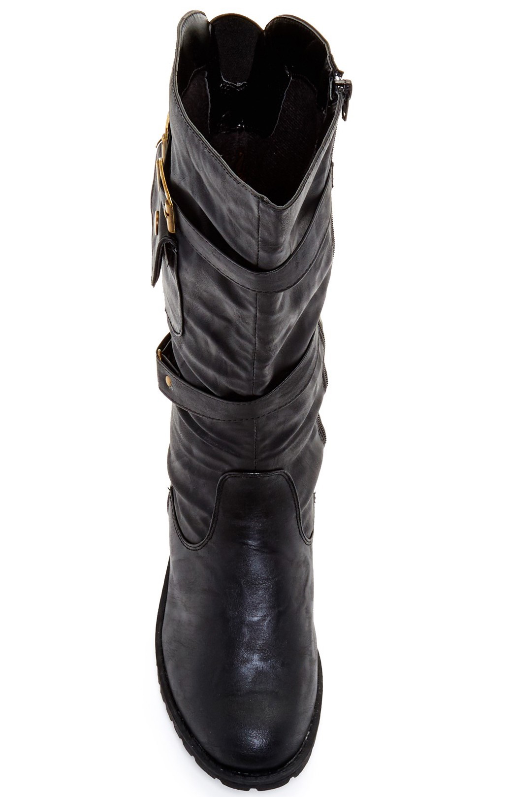 Carrini CA Collection Women's Vegan Fashion Full Zip Strappy Vegan Women's Leather Pocket Boots 4bc286