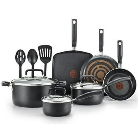 - T-fal C111SC Signature Nonstick Thermo-Spot Heat Indicator Cookware Set, 12-Piece, Black