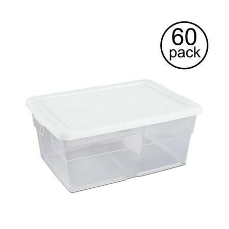60 Wide Tub (Sterilite 16 Quart Clear Stacking Closet Storage Box Container Tub (60)
