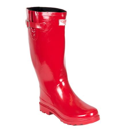 Women Rubber Rain Boots, Red /w Faux Fur Lining