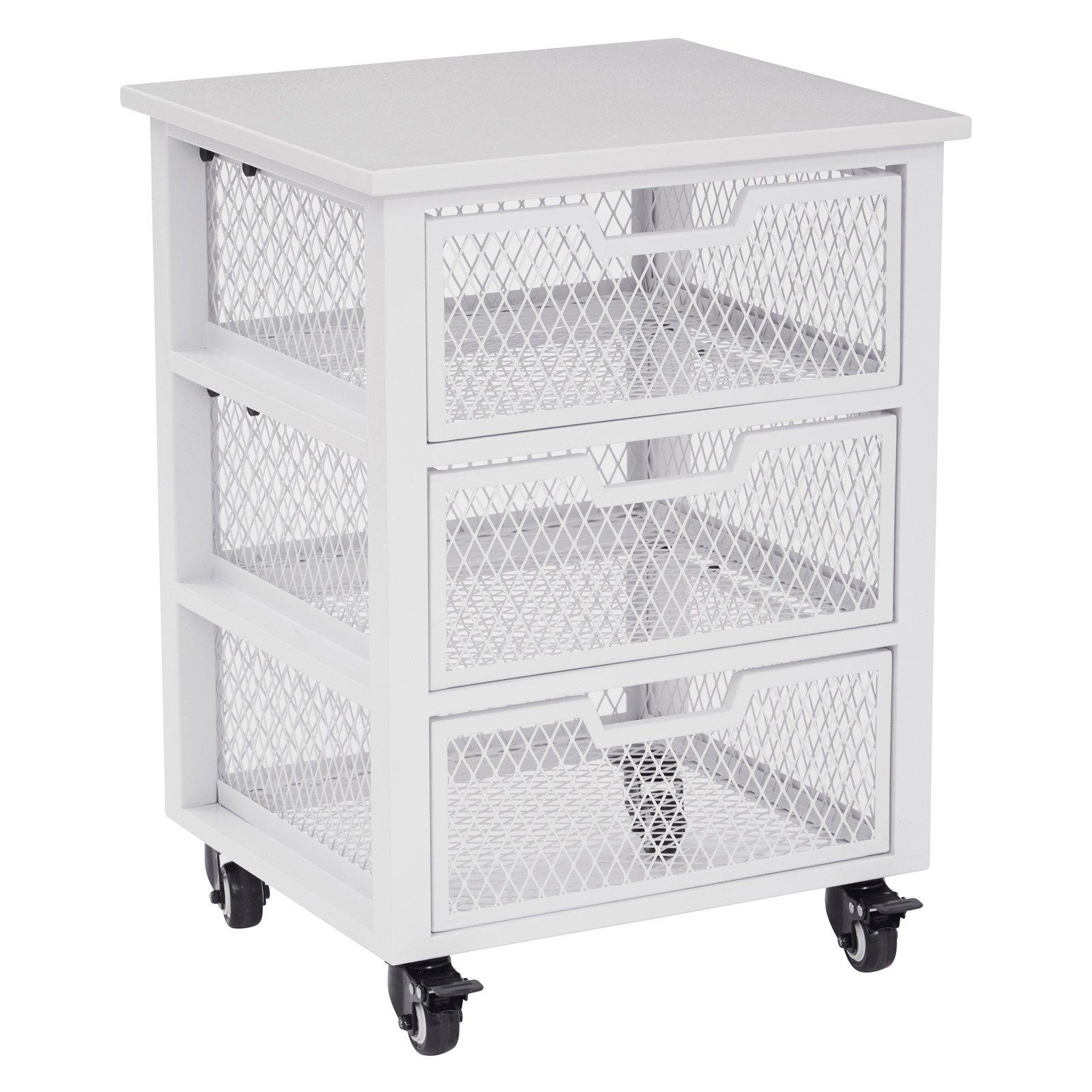 Osp Designs 3 Drawer Metal Filing Cart, White