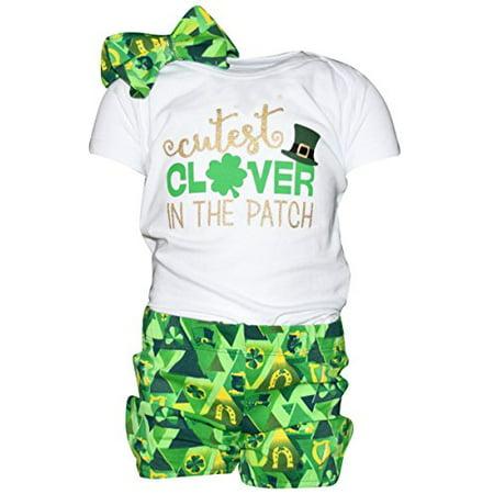 - Unique Baby Girls 1st ST Patricks Day Cutest Clover Shorts Layette (12 Months)