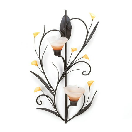 Wall Sconce Candle Holder, Modern Glass Flower Holder Wall Sconce Candles Holder