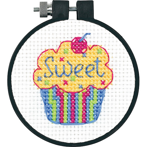 "Dimensions Learn-a-Craft Cupcakes Counted Cross Stitch Kit, 3"" round"