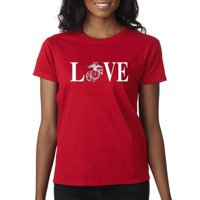 Trendy USA 145 - Women's T-Shirt Love Marines USMC Soldier Military Support Small Black