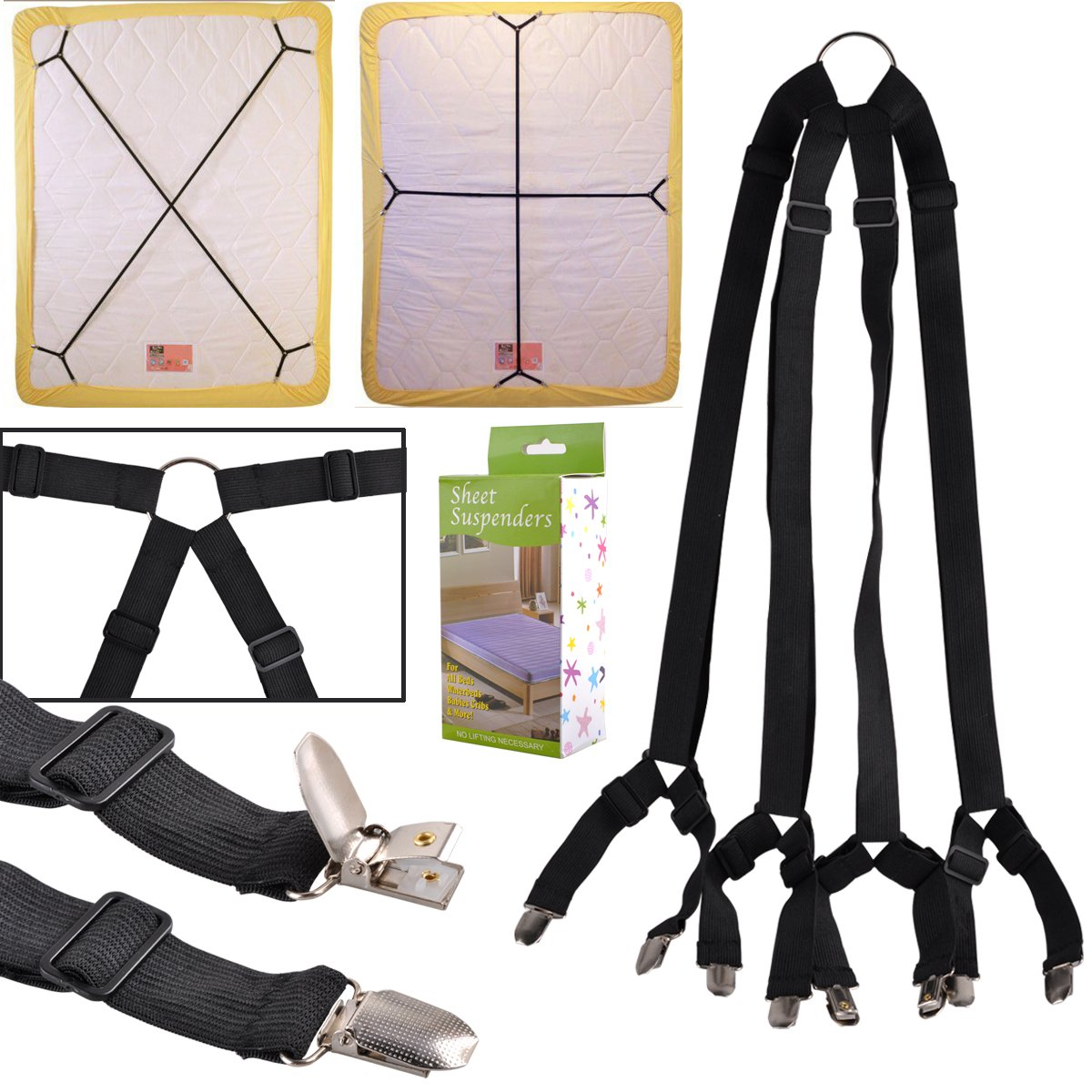 CRISSCROSS SHEET GRIPPERS STRAPS FASTENERS HOLD GRIPS ELASTIC CLIPS GRIPPER
