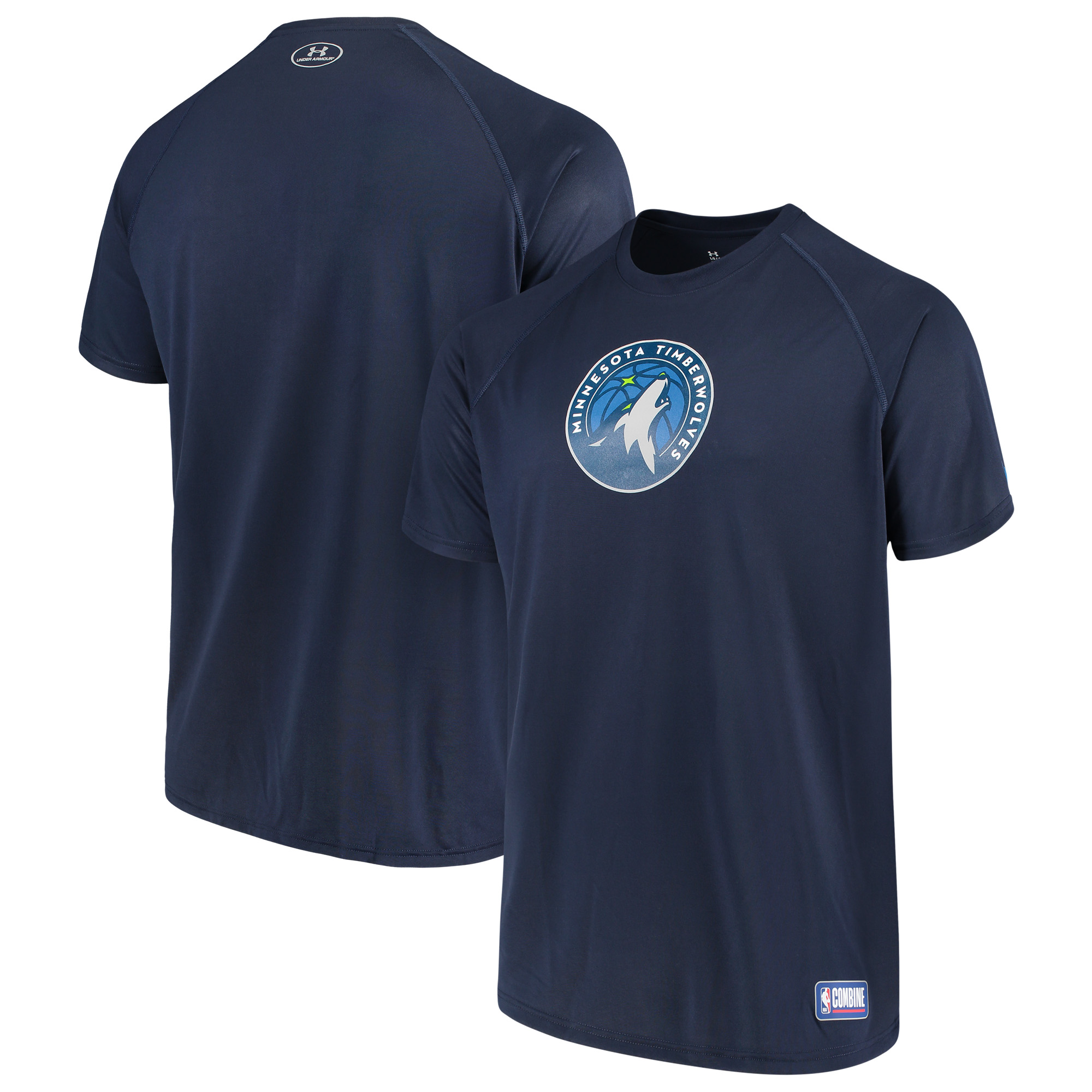 Minnesota Timberwolves Under Armour Combine Authentic Primary Logo Performance Raglan T-Shirt - Navy