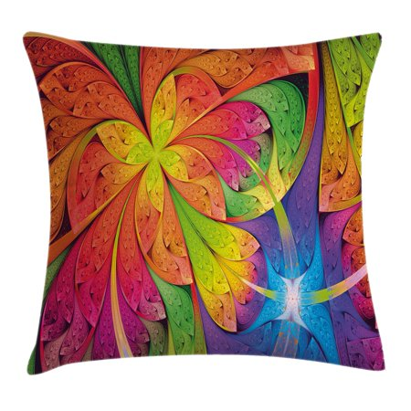 Fractal Throw Pillow Cushion Cover, Vibrant Rainbow Colored Floral Pattern with Vivid Contrast Curved Leaves Artisan Print, Decorative Square Accent Pillow Case, 16 X 16 Inches, Multi, by Ambesonne